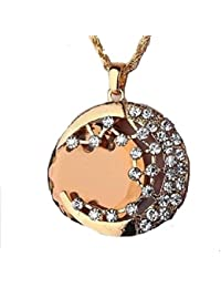 GirlZ! Crescent Moon Half Moon Golden Gem Pendant Necklace With Chain For Women