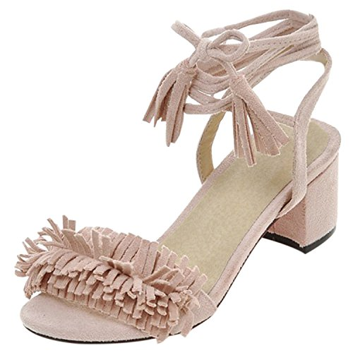 Oasap Women's Open Toe Fringed Chunky Heels Ankle Lace-up Sandals Pink