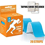NUTONTAPE Kinesiology Sports Tape / 20 Strips 10 inch Precut (Blue) - 5m x 5cm / Breathable, Water Resistant & Superior Adhesive/Taping Guide Included