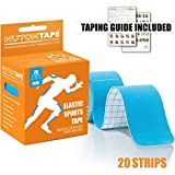 #7: NUTONTAPE™ Kinesiology Sports Tape for Muscle Support, Pain Reduction & Injury Recovery - KNEE, BACK, SHOULDER and more | Breathable, Water Resistant & Superior Adhesive | 20 Strips 10 inch Precut (BLUE) | 5m x 5cm - (Taping Guide Included)