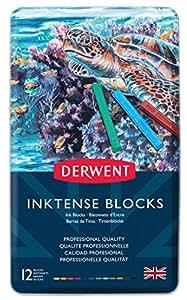 Derwent Inktense Permanent Watercolour Blocks, Set of 12, Professional Quality, 2300442 - Multicolour