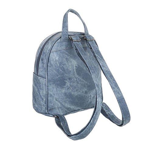 iTal-dEsiGn Damentasche Kleine Rucksack Freizeittasche In Used Optik Kunstleder TA-M1094 Hellblau