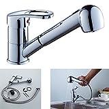Auralum® Küche herausziehbarer Geschirrbrause Wasserhahn Waschtischarmatur Armatur Waschbecken Einhandmischer küchenarmatur