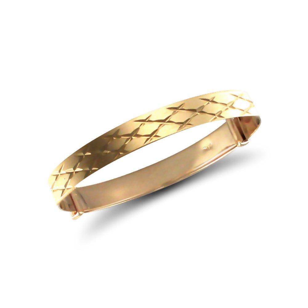 Jewelco London Baby Solid 9ct Yellow Gold Diamond Cut 5mm Expanding Bangle Bracelet