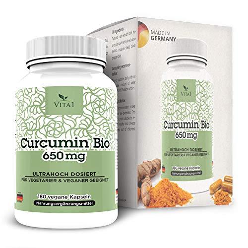 VITA1 Bio Curcumin 650mg • 180 Kapseln (3-Monatspackung) • Glutenfrei, vegan, koscher & halal • Hergestellt in Deutschland