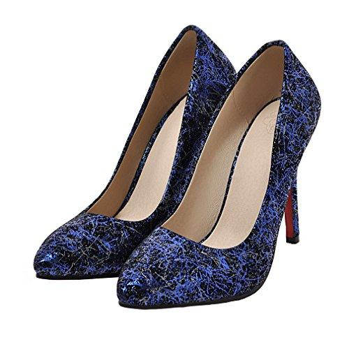 ENMAYER Femmes Slip on Stiletto Talons Hauts Pointe Toe Pumps Shoes Bleu