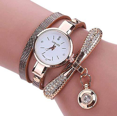 Scpink orologi da polso con strass orologi orologi da uomo orologi da polso casual per donna, quadrante rotondo orologio confortevole in pelle pu (marrone)