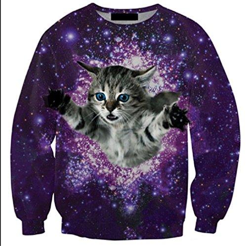 Lustige Tier 3D Sweatshirts Männer Longsleeve Katze Pizza -