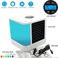 Personal Space Air Cooler Study Sleep Mini air Cooler Quick&Easy Way to Cool Any Space Mini fan Humidifier&Purifier 7 Color Adjustable LED Lights 5 speeds Home Office Desk Device Portable Air Cooler