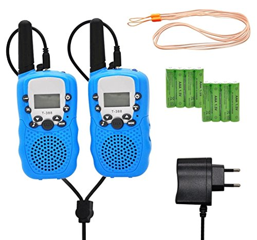 Walkie Talkie für Kinder 2X T388 PMR Funkgeräte mit RC Akku VOX LC-Display 8 Kanäle Max 3KM Wakytoky