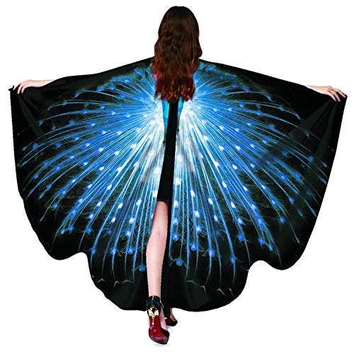 Peacock Kostüm Billig - Unique Life❤ Halloween/Party Schmetterling Flügel Damen Schal Cape Accessoire Gr. 147x70 cm, Peacock Sapphire_a