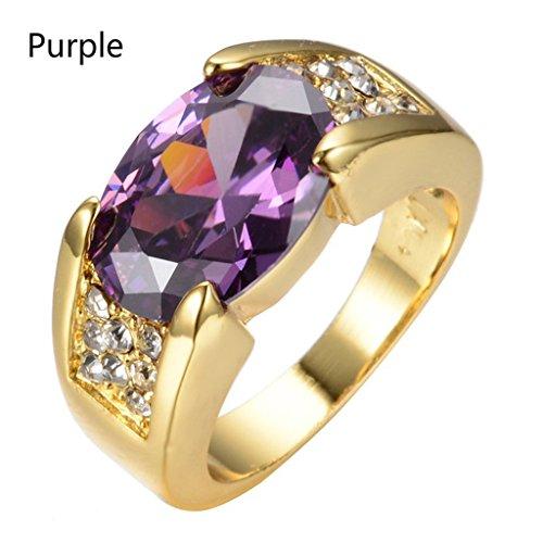 Danmei - Anillo diamante circonita dorada piedra preciosa