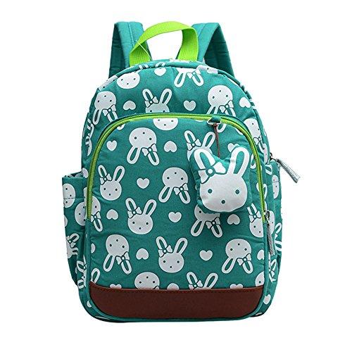 Kinder Rucksack Kleinkind Kindertasche für Jungen Mädchen mit Sicherheitsgurt Leine Liter Schultasche Cute Design (Grün)