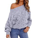Jaminy Damen Strickpullover Feinstrick Pullover Damen Winter Pullover lose V-Neck Warm Gestrickter (Einheitsgröße, Grau)