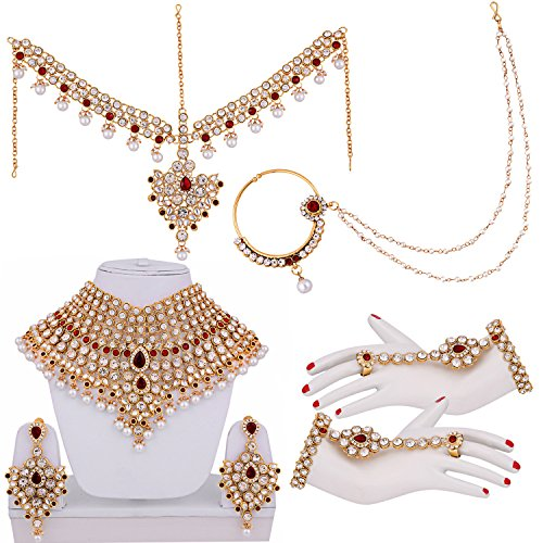 Lucky Jewellery Maroon Cz Stone Alloy Bridal Jewellery Set For Women