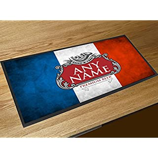 Artylicious Personalised French flag beer label bar runner pub mat ANY NAME