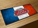 Französische Flagge Bier Label Bar Runner Pub Name personalisiert