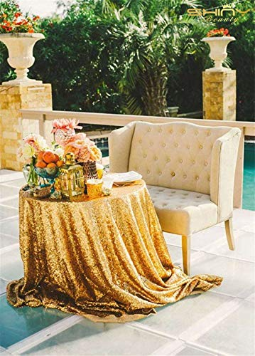 ShinyBeauty Sequin Tablecloth Gold 108-Inch Round