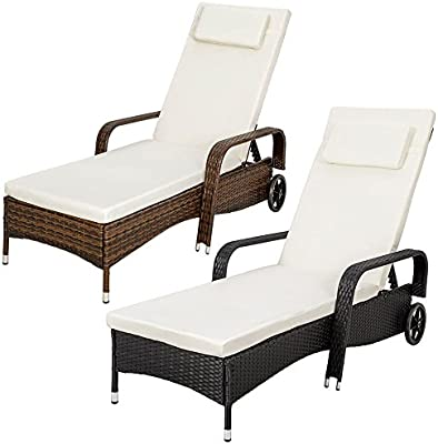 TecTake Tumbona chaise longue de poli ratán tumbona de jardín silla de terraza - disponible en diferentes colores -