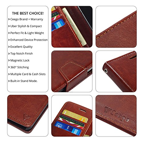 Ceego Luxuria Wallet Flip Cover for Xiaomi Redmi 3S – [Ultra Compact with Credit Card Slots & Wallet] – Classic Business Style Xiaomi Redmi 3S (No Finger Print Sensor) Flip Case (Walnut Brown)