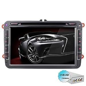 YINUO 8 pouces androïde 4.4.4 Quad Core 16GB 1024*600 écran tactile 2DIN Autoradio DVD GPS Navigation avec Bluetooth pour VW Golf /Tiguan / Jetta /Caddy /New Sharan/Passat /Bora /Polo/EOS /Toledo /Superb/Leon /Fabia/Magotan/Yeti /Scirocco /Lavida /Touran /Altea /Roomster / Rapid /Sagitr/Praktik, avec le DVB-T Box
