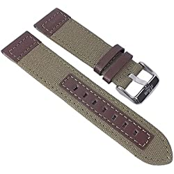 s. Oliver Watch Strap Leather/Textile Band 22mm Olive Green/Brown with Naht 2979/LQ