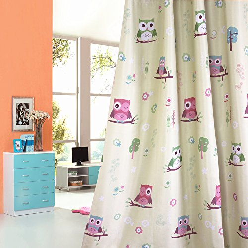 2er-Set Karikatur Eule blickdichte vorhänge für Kinder Kinderzimmer Kinderzimmer (160*140, Palmengrün)
