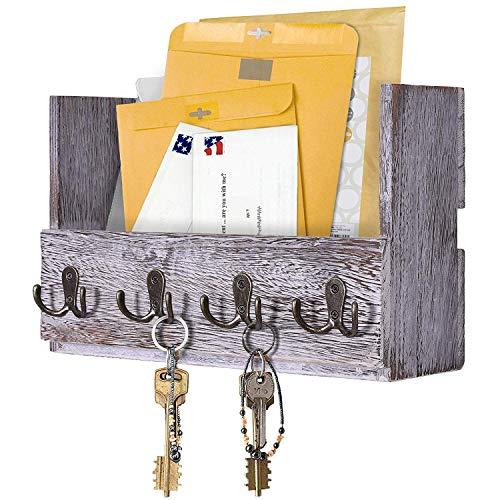 Comfify Post-Wandhalterung aus Holz - Rustikale Schlüsselaufbewahrung - Organizer für die Wand - Zeitschriftenhalter mit 4 Doppel-Schlüsselhaken - Weißes Wanddekor für den Eingangsbereich -