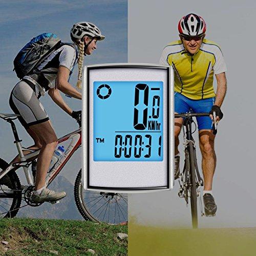 Elinker Fahrradcomputer mit großer LCD Hintergrundbeleuchtung und Motion Sensor für die Verfolgung der Geschwindigkeit und Entfernung, Wireless Radcomputer Drahtlos Tachometer Kilometerzähler - 7