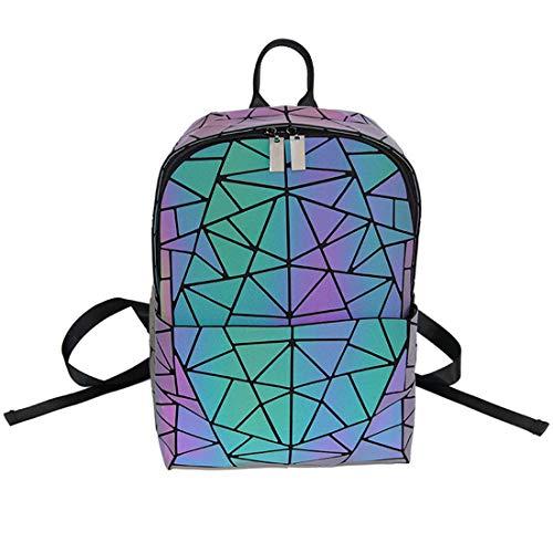 15d26cd1516e CCDYLQ Femmes Geometric Lattice Luminous Fancy Color Backpack - Fashion PU  Leather Double Shoulder Geometric Lingge Bag Traveling Backpack School Sac  ...