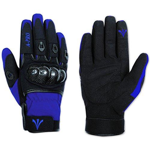 A-Pro Guanto Moto Tessuto Tecnico Corto Protezioni Carbonio Traspirante Blu XL