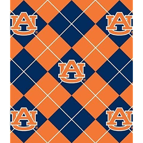 College University of Auburn Tigers Argyle Print Fleece Fabric By the Yard by Sykel