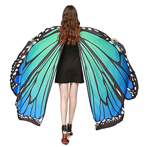 SHINEHUA Schmetterling kostüm, Frauen Party Kapuzen Umhang Print Frauen Schmetterling Flügel Schal...
