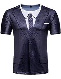 Fat.chot Herren T Shirts Anzug Gefälschte Zwei Stücke 3D Drucken Tops  Kurzarm Slim Fit Casual Arbeit Sport Simulation Bluse Übergröße Vatertag… 6aff978c62