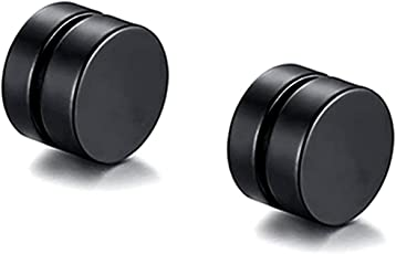 Zivom Dual Magnet 6 Mm 316L Surgical Stainless Steel Black Rhodium Non Pierced Ear Stud Earring Pair Boys Men Gift
