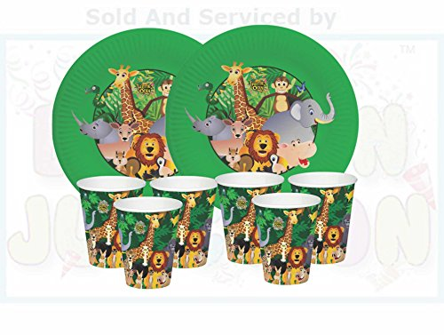BALLOON JUNCTION Jungle Birthday Party Tableware Combo - Plates Big , Cups/Glasses - 20 pcs each
