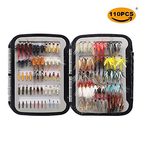 YZD Fliegenfischen Fliegen 225/194/180/110/60 Premium-Fliegen Trocken Nass Nymphe Luftschlangen mit Fly Box Fliegenfischen Fliegen lockt Kits (1-Essential-Serie: 110 Stück/Box)