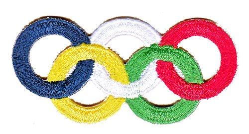 Olympische Ringe Aufnäher Bügelbild (Flagge Olympische Ringe)