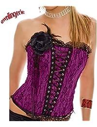 97bec7d0732c5 HITSAN Satin Bone Lace Up Embroidered Corset Bustier Women Corselet Corset  and Bustier Corset Overbust Slim Strapless Corset Color Purple…