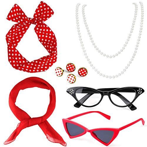Beelittle 50's Damen Kostüm Accessoires Set Chiffon Schal Polka Dot Bandana Krawatte Stirnband Ohrringe Retro Cat Eye Eglasses Perlenkette (Rot) Chiffon Drop
