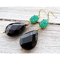 Orecchini con gocce di agata nera e cabochon vintage verdi, pendenti pietre dure, orecchini a goccia, gioielli stile antico, bigiotteria fatta a mano, bijoux antichi