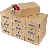 FEMOR 10 Piezas Caja de Zapatos Zapatero 10x Cajón de papel kraft corrugado Almacenamiento Plegable Con tarjeta Transparente Caja con 3 Capas Diseño Ondulado