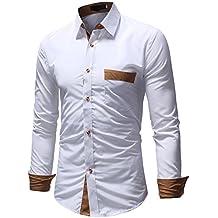 b28ae54ff2 BaZhaHei Hombre Camisa Manga Larga Slim Fit S-2XL Camiseta de Manga Larga  con Panel