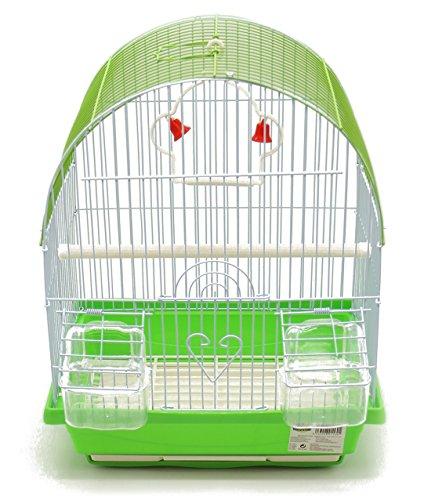 BPS Käfig Vögel Metall mit Futterstelle Vogeltränke Schaukel Pogo Kübelpflanzen zufällige Farbe senden 30x 23x 39cm bps-1160 -