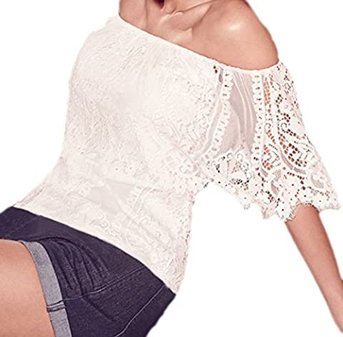 Erdbeerloft-robe filet épaules pour femme crop top crocheté aspect vieilli blanc taille unique