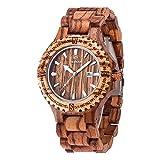 JUHAICH Wooden Watch Bamboo Wood Genuine Leather Strap Natural Wood Wrist Watch Japanese Quartz Movement for Women & Men (Zebra)