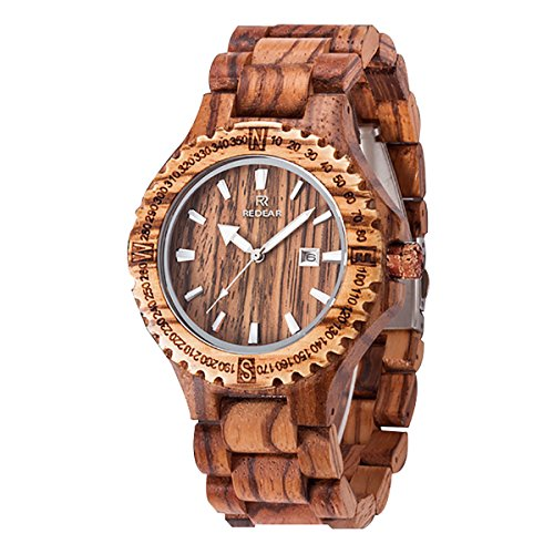 (juhaich Holz Armbanduhr Zebra/Rot Sandelholz Armbanduhr Japanisches Quarzuhrwerk mit Datumsanzeige)