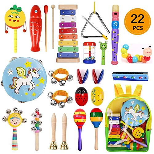 Yetech 22 PCS Musikinstrumente Musical Instruments Set, Holz Percussion Set Schlagzeug Schlagwerk Rhythm Toys Musik Kinderspielzeug für Kleinkinder und Baby