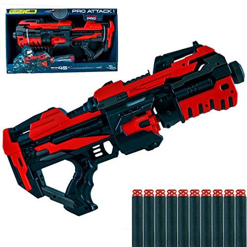 Tack Pro Attack I Blaster inklusive 10 Darts Spielzeugblaster mit 10er Trommelmagazin (Blaster)