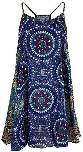 Guru-Shop Boho Dashiki Minikleid, Trägerkleid, Strandkleid, Tank Top, Damen, Petrol/Flieder, Synthetisch, Size:38, Kurze Kleider Alternative Bekleidung